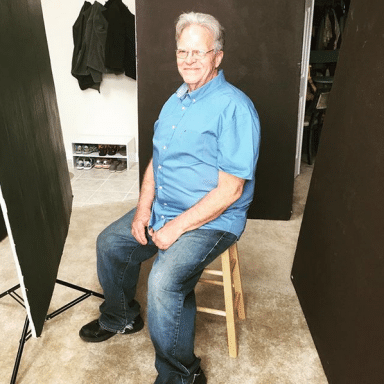 older actor getting headshots taken