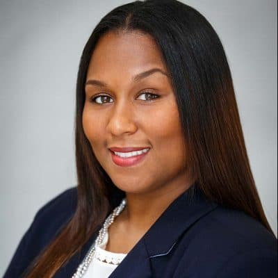 black female business headshot straight hair navy jacket